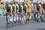 Team Astana and Lance Armstrong escort the Yellow Jersey worn by Alberto Contador, Tour de France 2009, on the circuit of the Champs Elysees and Rue de Rivoli in Paris