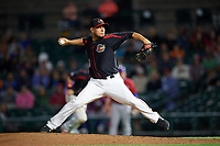 Rochester Red Wings relief pitcher Yohan Pino (16) delivers a pitch during a game against the Buffalo Bisons on August 25, 2017 at Frontier Field in Rochester, New York.  Buffalo defeated Rochester 2-1 in eleven innings.  (Mike Janes/Four Seam Images)