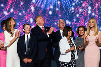 CLEVELAND, OH - JULY 21:  Republican nominee Donald Trump celebrates after the Republican Convention, July 21, 2016 at the Quicken Loans Arena in Cleveland, Ohio.  His is joined by his running mate Mike Pence,  his wife Melania and his daughter daughter Ivanka.  (Photo by Brooks Kraft/ Getty Images)