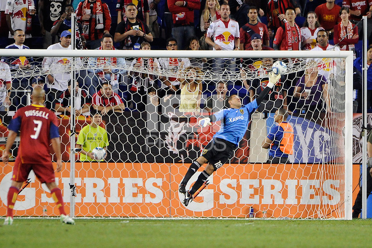 Real Salt Lake goalkeeper Nick Rimando (18) makes a save. Real Salt Lake defeated the New York Red Bulls 3-1 during a Major League Soccer (MLS) match at Red Bull Arena in Harrison, NJ, on September 21, 2011.