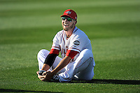 Boston Red Sox shortstop Stephen Drew (7) stretches before playing for the Class A Greenville Drive on a tuneup assignment in a game against the Augusta GreenJackets on Friday, May 23, 2014, at Fluor Field at the West End in Greenville, South Carolina. (Tom Priddy/Four Seam Images)