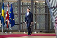 Le Président français Emmanuel Macron arrive au Sommet européen à Bruxelles.<br /> Belgique, Bruxelles, 13 décembre 2018. <br /> French President Emmanuel Macron attends the EU summit meeting, at the European Union headquarters in Brussels.<br /> Belgium, Brussels, 13 December 2018.