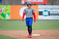 Mickey Moniak (22) of the Lakewood BlueClaws runs the bases during batting practice prior to the game against the Kannapolis Intimidators at Kannapolis Intimidators Stadium on April 6, 2017 in Kannapolis, North Carolina.  The BlueClaws defeated the Intimidators 7-5.  (Brian Westerholt/Four Seam Images)