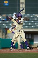 Jalen Jones (8) of the Western Carolina Catamounts at bat against the Saint Joseph's Hawks at TicketReturn.com Field at Pelicans Ballpark on February 23, 2020 in Myrtle Beach, South Carolina. The Hawks defeated the Catamounts 9-2. (Brian Westerholt/Four Seam Images)