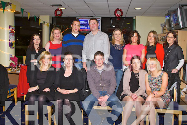 CHRISTMAS FUN: The staff of FDC enjoying a great time at their Christmas party at the Kingdom Greyhound Stadium on Friday seated l-r: Ann Marie Murphy, Lorraine Mulvihill, Ray Riordan, Jene Flynn and Emer O'Kelly. Back l-r: Kate Wright, Melissa Costelloe, Patrick Dore, James Leahy, Claire Hannrahan, Ann Collins, Jane Murphy and Ann Marie O'Connor.
