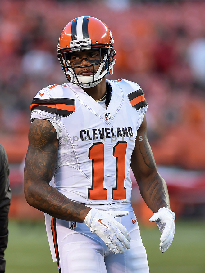 CLEVELAND, OH - AUGUST 18, 2016: Wide receiver Terrelle Pryor #11 of the Cleveland Browns stands on the field prior to a preseason game on August 18, 2016 against the Atlanta Falcons at FirstEnergy Stadium in Cleveland, Ohio. Atlanta won 24-13. (Photo by: 2016 Nick Cammett/Diamond Images) *** Local Caption *** Terrelle Pryor