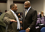 Nevada Assembly Democrats Jason Frierson, left, and William Horne talk at the Legislative Building in Carson City, Nev., on Thursday, Feb. 21, 2013..Photo by Cathleen Allison