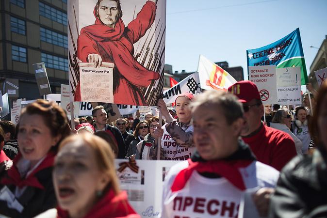 More then 20000 people gather to protest againt Demolition Project downtown Moscow. / Demonstration in Moskau gegen die Pläne zum Abriss von Plattenbauten und die Umsiedlung von den Einwohnern / Abrisspläne in Moskau 2017 für über 1 Million Menschen, Demolition plans in Moscow for over 1 Million people