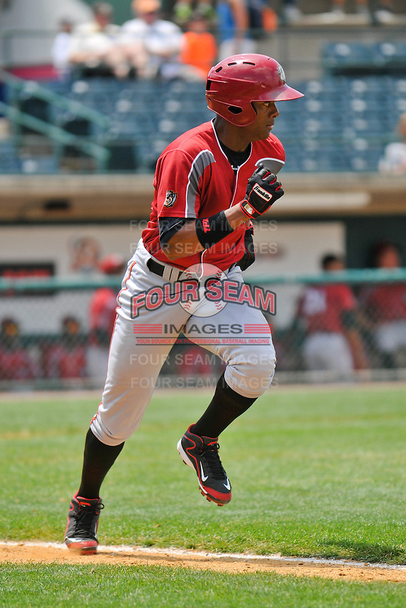 Andy Vasquez (2) of the Altoona Curve runs to first base during a game against the New Britain Rock Cats at New Britain Stadium on June 25, 2014 in New Britain, Connecticut.  New Britain defeated Altoona 3-1.  (Gregory Vasil/Four Seam Images)