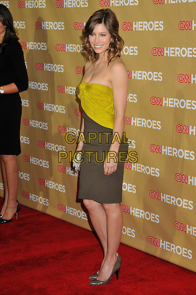 JESSICA BIEL .at The CNN Heroes: An All Star Tribute held at The Kodak Theatre in Hollywood, California, USA, November 22nd 2008.                                                                  .full length strapless green dress yellow colour block brown silver gold clutch bag  shoes pumps .CAP/ADM/BP.©Byron Purvis/Admedia/Capital PIctures