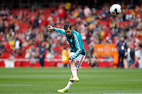 Dani Ceballos of Arsenal practicing shots during the Premier League match between Arsenal and Aston Villa at the Emirates Stadium, London, England on 22 September 2019. Photo by Carlton Myrie / PRiME Media Images.