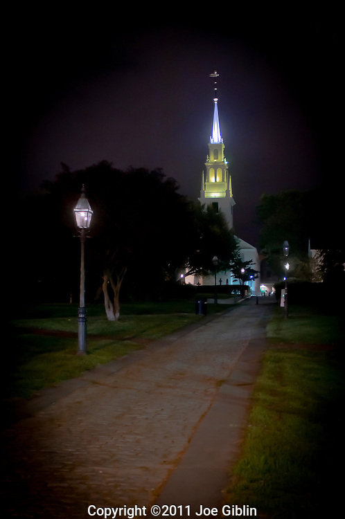 Trinity Church and Queen Anne Park at night, Newport, RI