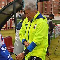 TUNJA- COLOMBIA, 19-10-2019:Octavio Zambrano director técnico del Deportivo Pasto.Acción de juego entre Patriotas Boyacá y el  Deportivo Pasto durante partido por la fecha 18 de la Liga Águila II  2019 jugado en el estadio La Independencia de la ciudad de Tunja. /Octavio Zambrano coach of Deportivo Pasto.Action game between teams Patriotas Boyaca and Deportivo Pasto during the match for the date 18 of the Liga Aguila II 2019 played at the La Independencia stadium in Tunja city. Photo: VizzorImage / José Miguel Palencia / Contribuidor