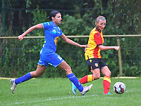 20200819, Sint-Amandsberg , GENT , BELGIUM : Gent's Jolet Lommen (L) and Lens's midfielder Marie Schepers (R) pictured during a friendly soccer game between KAA Gent ladies and RC Lens ladies in the preparations for the coming season 2020 - 2021 of Belgian Women's SuperLeague and French second division , Wednesday 19 th of August 2020 in JAGO Sint-Amandsberg / Gent, Belgium . PHOTO SPORTPIX.BE | STIJN AUDOOREN