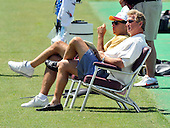 Ashburn, VA - June 11, 2008 -- Washington Redskins Executive Vice President-Football Operations Vinny Cerrato, left, and former Redskins starting quarterback Joe Theismann, right, watch as the players participate in an organized team activity (OTA) as part of their preparations for the 2008 National Football League season at their training facility, Redskins Park in Ashburn, Virginia on Wednesday, June 11, 2008..Credit: Ron Sachs / CNP