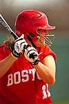 25 April 2009: Boston University Terriers' Catcher/Infielder Christy Leath, a Senior from St. Charles, MO, in action against the University of Vermont Catamounts at Archie Post Field in Burlington, Vermont. Sadly, the Catamounts are playing their last season of softball, as the program has been marked for elimination due to budgetary constraints at the University. Mandatory Photo Credit: Ed Wolfstein Photo