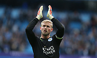 Leicester City's goalkeeper Kasper Schmeichel applauds the fans at the final whistle <br /> <br /> Photographer Stephen White/CameraSport<br /> <br /> The Premier League - Manchester City v Leicester City - Saturday 13th May 2017 - Etihad Stadium - Manchester<br /> <br /> World Copyright &copy; 2017 CameraSport. All rights reserved. 43 Linden Ave. Countesthorpe. Leicester. England. LE8 5PG - Tel: +44 (0) 116 277 4147 - admin@camerasport.com - www.camerasport.com