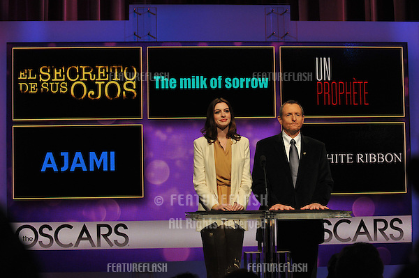 Actress Anne Hathaway & Academy president Tom Sherak announce the nominations for the 82nd Annual Academy Awards at the Samuel Goldwyn Theatre at the Academy of Motion Picture Arts & Sciences in Beverly Hills..February 2, 2010  Beverly Hills, CA.Picture: Paul Smith / Featureflash