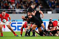 1st November 2019, Tokyo, Japan;  Nepo Laulala (NZL) passes the ball along his line; 2019 Rugby World Cup 3rd place match between New Zealand 40-17 Wales at Tokyo Stadium in Tokyo, Japan.  - Editorial Use
