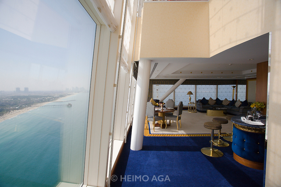 Jumeirah, Burj Al Arab, the World's most luxurious hotel. A Duplex Suite. Living area.