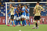 Amin Younes of Napoli celebrates with team mates after scoring a goal<br /> during the Serie A football match between SSC  Napoli and SPAL at stadio San Paolo in Naples ( Italy ), June 28th, 2020. Play resumes behind closed doors following the outbreak of the coronavirus disease. <br /> Photo Cesare Purini / Insidefoto