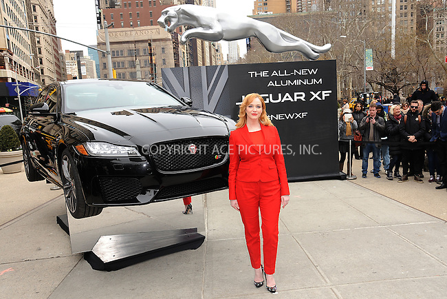 WWW.ACEPIXS.COM<br /> March 31, 2015 New York City<br /> <br /> Christina Hendricks joins Jaguar in Manhattan's Flatiron Square to reveal the all-new, 2016 XF sedan, floating above ground to spotlight its aluminum-intensive architecture on March 31, 2015 in New York City.<br /> <br /> Please byline: Kristin Callahan/AcePictures<br /> <br /> ACEPIXS.COM<br /> <br /> Tel: (646) 769 0430<br /> e-mail: info@acepixs.com<br /> web: http://www.acepixs.com