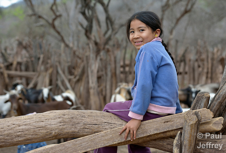 Maria Griselda Ortega, 7, is a Guarani indigenous girl in Choroquepiao, a small village in the Chaco region of Bolivia. Church World Service works with families in the village to improve the quality of their lives.