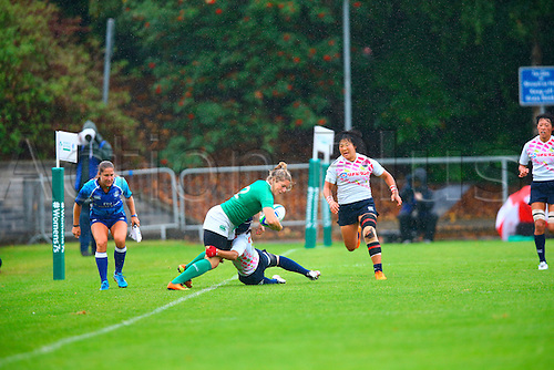 23.08.2015. Dublin, Ireland. Women's Sevens Series Qualifier 2015. Japan versus Ireland <br /> Yuka Kanematsu (Japan) tackles Alison Miller (Ireland) in to touch.