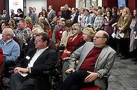 NWA Democrat-Gazette/DAVID GOTTSCHALK   Philip Taldo (seated right), Arkansas Highway Commission, Thursday, February 9, 2017, at dedication ceremony for Springdale's new Don Tyson School of Innovation campus. The school is named after Donald Tyson former chairman and chief executive officer of Tyson Foods. Half of the campus opened in August, with construction wrapping up on the other half in time for this semester.
