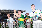 Brendan Kealy, Fionn Fitzgerald and Brian Kelly celebrate after defeating Donegal in the GAA All Ireland Senior Football Championship final.