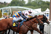 June 10th 2017, Chester Racecourse, Cheshire, England; Chester Races Horse racing; Dragon King ridden by Dougie Costello gets up to win at the line from Russian Realm ridden by Oisin Murphy in the Whitley Neill Gin Stakes