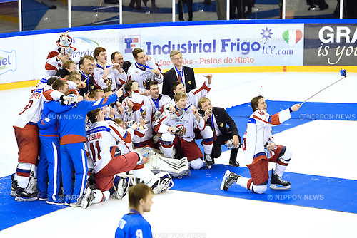 Russia team group, <br /> FEBRUARY 14, 2015 - Ice Hockey : <br /> 27th Winter Universiade Granada 2015 <br /> Ice Hockey Men's Medal Ceremony at Granada Sport Palace, Granada, Spain. <br /> (Photo by AFLO SPORT) [1220]