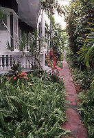 Tropical ferns and foliage plants with brick pathway alongside Key West Florida home with veranda porch