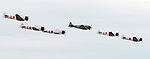 Aircraft painted to look like Japanes warplanes fly during the Wings Over Houston airshow Sunday Oct. 22,2006.