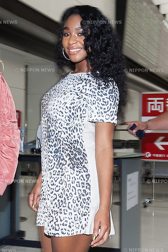 Normani Hamilton a member of the American five-piece girl group Fifth Harmony arrives at Narita International Airport on July 7, 2016, Chiba, Japan. Fifth Harmony are in Japan for the first time to promote their new song Work from Home. Fifth Harmony flew 25 hours from Sau Paulo to Japan after finishing their tour of South America. (Photo by Rodrigo Reyes Marin/AFLO)