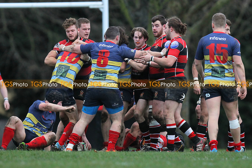 Tempers flare after Cooperians are awarded a penalty - Campion RFC vs Old Cooperians RFC - London 2 North East Rugby at Cottons Park, Romford - 20/12/14 - MANDATORY CREDIT: Gavin Ellis/TGSPHOTO - Self billing applies where appropriate - contact@tgsphoto.co.uk - NO UNPAID USE