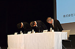 """May 1st, 2011, Tokyo, Japan - Sony Computer Entertainment President Kazuo Hirai, center, and two other executives bow in traditional style of apology at the start of a news conference at its head office In Tokyo on Sunday, May 1, 2011. Sony apologized for a security breach in the company PlayStation Network that caused the loss of personal data of some 77 million accounts on the online service. Sony has said it has contacted U.S. Federal Bureau of Investigation to look into what the company called """"a criminal cyber attack"""" on Sony's data center in San Diego, California. Otehr executives are, Sony Corp.'s Senior Vice Presidents Shiro Kambe, left, and Shinji Hasejima. (Photo by Koichi Mitsui/AFLO) -mis-"""
