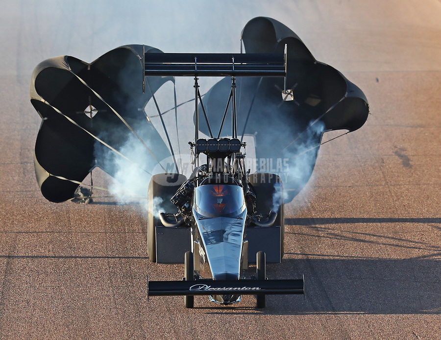 Feb 23, 2019; Chandler, AZ, USA; NHRA top fuel driver Mike Salinas during qualifying for the Arizona Nationals at Wild Horse Pass Motorsports Park. Mandatory Credit: Mark J. Rebilas-USA TODAY Sports