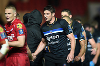 Paul Grant of Bath Rugby shakes hands after the match. European Rugby Champions Cup match, between the Scarlets and Bath Rugby on October 20, 2017 at Parc y Scarlets in Llanelli, Wales. Photo by: Patrick Khachfe / Onside Images