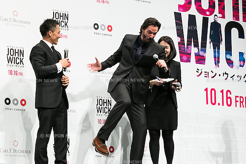 (L to R) Japanese Judo Gold Medalist Tadahiro Nomura and Canadian actor Keanu Reeves attend the Japanese premiere for the film John Wick on September 30, 2015, Tokyo, Japan. The movie will be released in Japanese theatres on October 16. (Photo by Rodrigo Reyes Marin/AFLO)