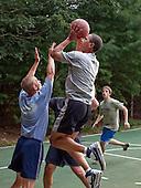 Martha's Vineyard, MA - August 26, 2009 -- United States President Barack Obama plays basketball with White House staffers while on vacation on Martha's Vineyard, Massachusetts on August 26, 2009..Mandatory Credit: Pete Souza - White House via CNP