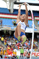 CALI - COLOMBIA - 18-07-2015: Nikola Posscholova de Republica Checa, en acción durante la prueba de Salto con Garrocha en el estadio Pascual Guerrero sede, sede de IAAF Campeonatos Mundiales de la Juventud Cali 2015.  / Nikola Posscholova of Czech Republic, in action during the test of Pole Vault in the Pascual Guerrero home of the IAAF World Youth Championships Cali 2015. Photos: VizzorImage / Luis Ramirez / Staff.