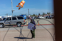 "MEXICALI, MEXICO - April 5 A person carries a sign that reads ""Down with Trump and his Evil empire"" in the protest against the President of the United States on April 5, 2019 in Mexicali, Mexico.<br /> President Trump on Friday visited Calexico, a small city in a largely agricultural region between Arizona and the Pacific, to inspect an upgraded portion of fencing and to meet with law enforcement. That's more attention than usual for a border town that locals say is defined by its interconnection with Mexico, its infernal summers and its labor-based economy. <br /> (Photo by Luis Boza/VIEWpress)"