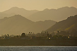 The coastal hills above Shell Beach at sunset, from Pismo Beach, California