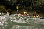 TURRIALBA, COSTA RICA- JANUARY 2, 2009:  Meredith Miller (C), 23, of Queens; floats on the Pacuare River while on a white-water rafting trip with Rios Tropicales on January 2, 2009 in Turrialba, Costa Rica.    (Photo by Michael Nagle)