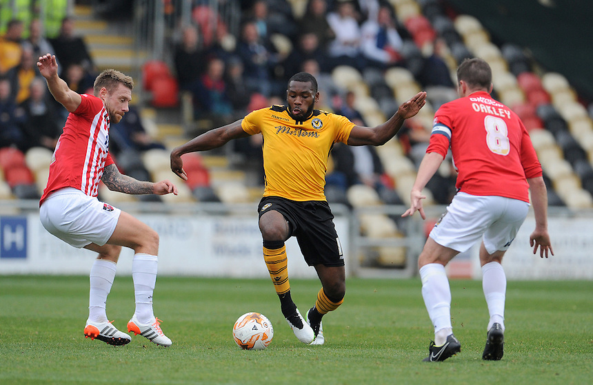 Newport County's Lenell John-Lewis in action during todays match  <br /> <br /> Photographer  Ian Cook/CameraSport<br /> <br /> Football - The Football League Sky Bet League Two - Newport County AFC v Exeter City - Saturday 3rd October 2015 - Rodney Parade - Newport<br /> <br /> &copy; CameraSport - 43 Linden Ave. Countesthorpe. Leicester. England. LE8 5PG - Tel: +44 (0) 116 277 4147 - admin@camerasport.com - www.camerasport.com