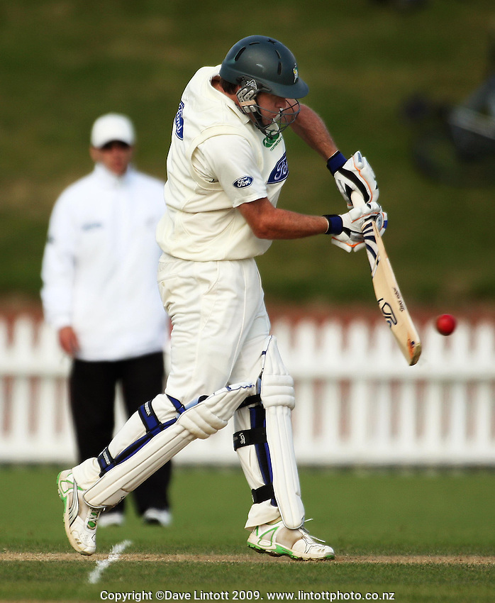 Central captain Jamie How bats during the Plunket Shield cricket match between Wellington Firebirds and Central Stags at Allied Nationwide Finance Basin Reserve, Wellington, New Zealand on Tuesday, 15 December 2009. Photo: Dave Lintott / lintottphoto.co.nz