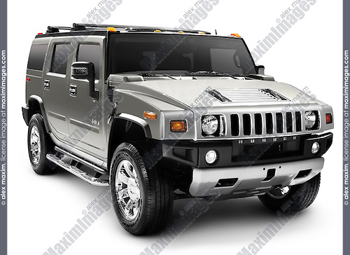 Hummer H2 full-size SUV isolated with clipping path on white background.