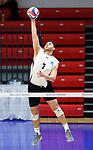 KENOSHA, WI - APRIL 28:  Springfield College's Ricardo Padilla Ayala spike a ball out of the back row at the Division III Men's Volleyball Championship held at the Tarble Athletic and Recreation Center on April 28, 2018 in Kenosha, Wisconsin. (Photo by Steve Woltmann/NCAA Photos via Getty Images)