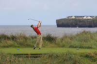 Sean Flanagan (Co. Sligo) on the 4th tee during Matchplay Round 1 of the South of Ireland Amateur Open Championship at LaHinch Golf Club on Friday 22nd July 2016.<br /> Picture:  Golffile | Thos Caffrey<br /> <br /> All photos usage must carry mandatory copyright credit   (© Golffile | Thos Caffrey)